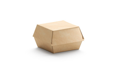 Blank craft burger box mockup, isolated, side view, 3d rendering. Empty cardboard container mockup for hamburger and sandwich. Clear carton package for cheeseburger template. Portable fast food pack.