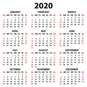 Calendar 2020 in English in simple style on a white background. Week starts on Sunday. Vector illustration