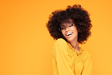 Happy afro woman with beautiful smile. Wall mural