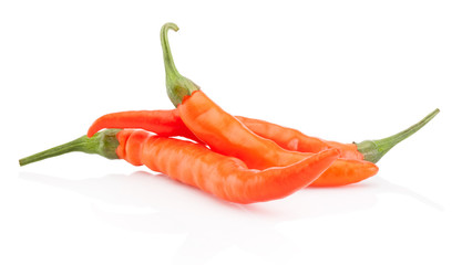 Canvas Prints Hot chili peppers Three orange hot chili pepper isolated on white background