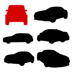 red and black automobile silhouette
