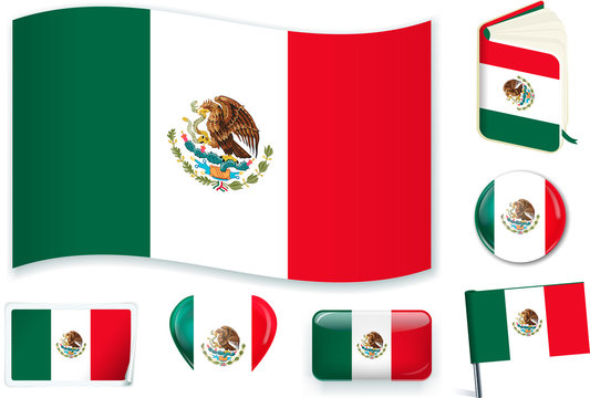 Mexico. Mexican flag wave, book, circle, pin, button, heart and sticker.
