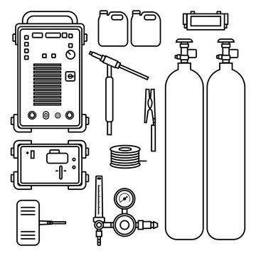 set of vector illustration gas welding argon machine with regulator tank torch for industrial construction and metal working flat design style silhouette