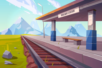 Railway station at mountains, empty railroad platform for train in highland countryside area perspective view, beautiful nature landscape background, public transportation. Cartoon vector illustration Fotomurales