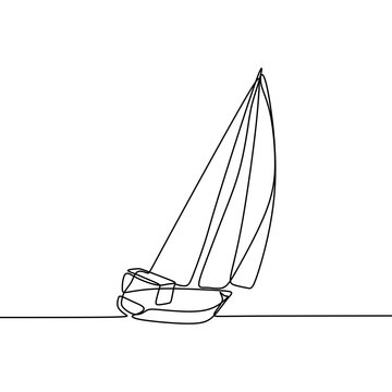 Sail one line drawing continuous lineart design minimalist style