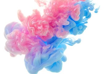 Fototapete - Ink in water. Splash paint mixing. Multicolored liquid dye. Abstract background color
