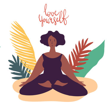 Hand drawn minimal vector illustration of cartoon black woman character doing yoga asana pose outside in nature with backgroud of tropical leafs and plants.