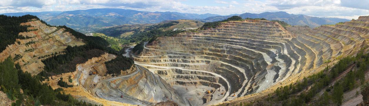 Panorama of big open quarry