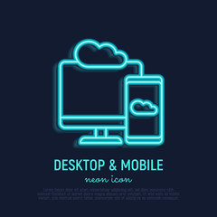 Cloud computing neon thin line icon: smartphone sync with desktop. Modern vector illustration.