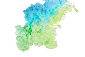 Fototapete - Ink in water. Splash paint mixing. Multicolored liquid dye. Abstract  sculpture background color