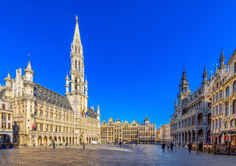 Grand Place (Grote Markt) with Town Hall (Hotel de Ville) and Maison du Roi (King's House or Breadhouse) in Brussels, Belgium. Grand Place is tourist destination in Brussels.