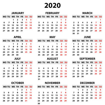 Calendar 2020 in English in simple style on a white background. Week starts on Monday. Vector illustration