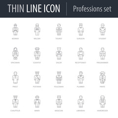 Icons Set of Professions. Symbol of Intelligent Thin Line Image Pack. Stroke Pictogram Graphic for Web Design. Quality Outline Vector Symbol Concept Collection. Premium Mono Linear