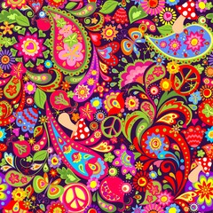 Hippie vivid colorful wallpaper with abstract flowers, hippie peace symbol, mushrooms, pomegranate and paisley