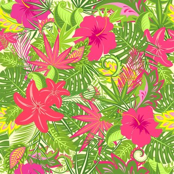 Tropical wallpaper with lily and hibiscus flowers, monstera, palm branch and exotic leaves for fabric, textile, wrapping paper, greeting card, invitation, summer party, web design
