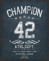 `champion` typography, sporting tee shirt graphics