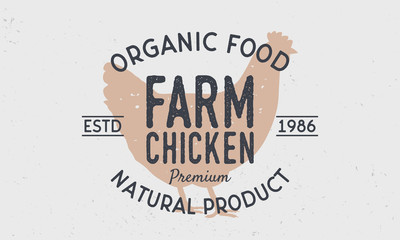 Farm Chicken logo. Retro logo with Chicken silhouette. Vintage poster for meat shop. Vector illustration