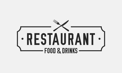 Vintage restaurant logo. Restaurant badge, poster with fork and knife. Vector emblem template