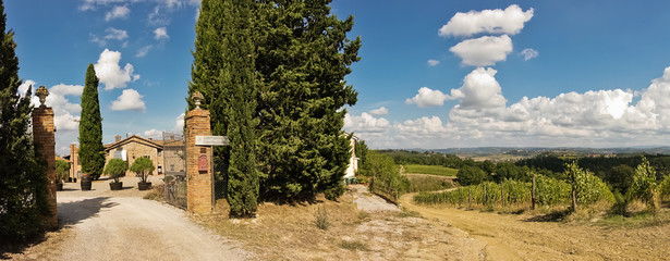 Hiking hills, backroads and vineyards at autumn, near San Gimignano in Tuscany, Italy