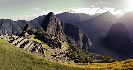 Panoramic View of Machu Picchu (Giant Picture) (Combined and Merged Images) (Peru) (Light Filter, Vintage)