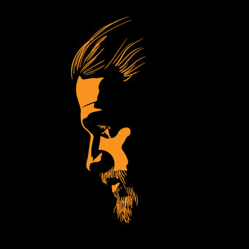 Bearded Man portrait silhouette in contrast backlight. Vector. Illustration.