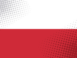 Vector image of the Flag Of Poland with a dot texture in the style of comics