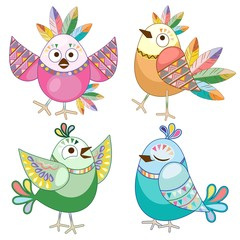 In de dag Draw Birds Cute Ethnic Flat Cartoon Characters Vector Illustration isolated on white