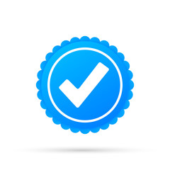 Checkmark. Blue approved star sticker on white background. Vector stock illustration.