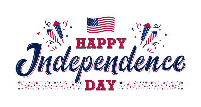 Happy Independence day sign with stars, petards and american flag. 4th of July, United Stated independence day. Template design for poster, banner, flyer, greeting card. Vector illustration