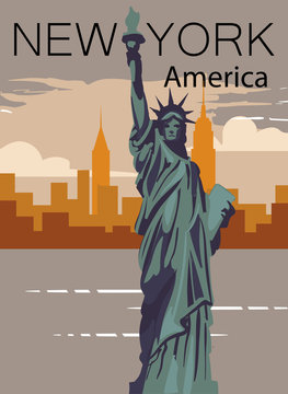 New-York retro poster. New-york city american landscape with statue of liberty.