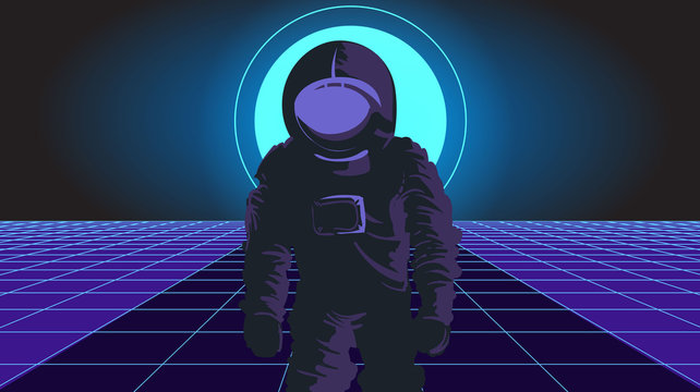 Astronaut in landscape style synthwave 80 years fantastic background light, walks through the laser grid.