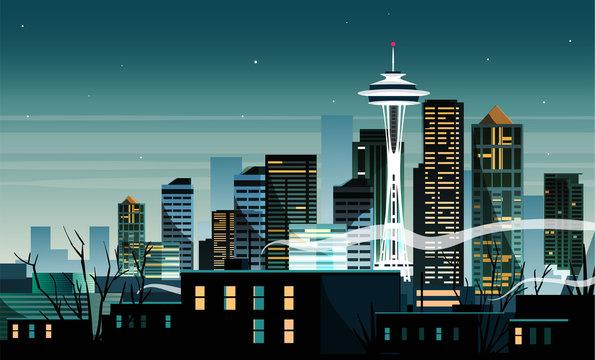 Night cartoon landscape of the city of Seattle, America.
