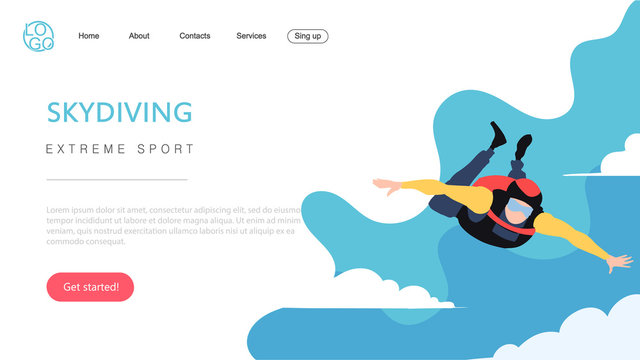 Landing page template of extreme sport skydiving. The Flat design concept of web page design for a Skydiving website.
