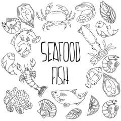 Set of hand drawn seafood, Healthy food drawings set elements for menu design. Vector illustration