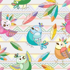 Birds Cute Ethnic Characters Vector Seamless Pattern Textile Design