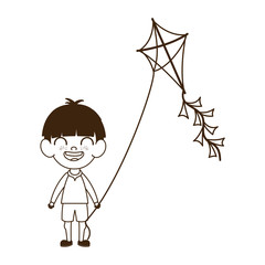 silhouette of baby boy standing with kite in the hand
