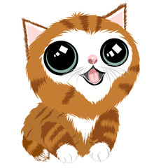 Door stickers Hand drawn Sketch of animals Cute cartoon cat with big eyes. Vector hand drawn.