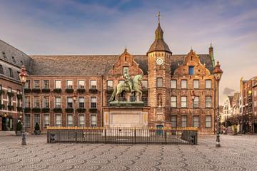Jan Wellem statue, town hall, Marktplatz, old town of Dusseldorf, Germany