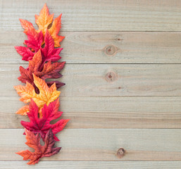 vertical border of colorful autumn leaves on a wood background with copy space
