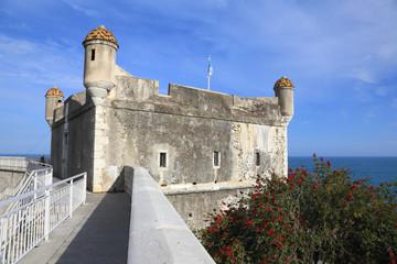 Castle of Menton facing the sea, France