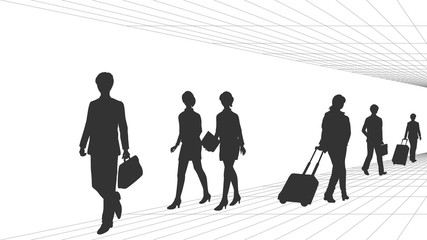 Silhouettes of business men and women walking
