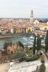 cityscape and river of Verona, Italy