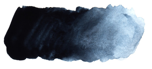 Abstract headline background. A shapeless oblong spot of blue black color. Gradient from dark to light. Hand drawn watercolor illustration on texture paper. isolate on white