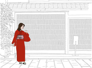 Hand drawn illustration. A geisha stands in front of a beautiful machiya home in Kyoto, Japan. Traditional Japanese kimono and historic architecture.