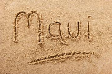 Maui Hawaii handwritten beach sand message