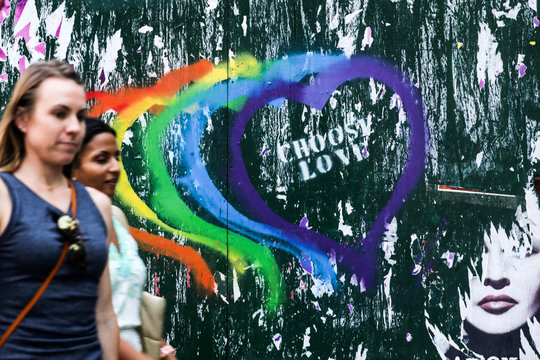 Choose love graffiti is seen during the 50th Anniversary of the Stonewall Uprising in Manhattan in New York City