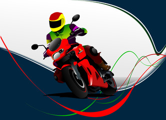Motorcycling  background with motorcycle image. Iron horse. Vector illustration