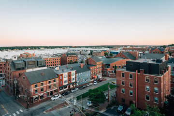 Cityscape view of Portland, Maine at sunset