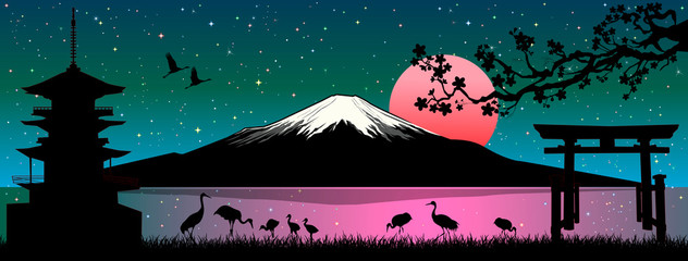 Mount Fuji Japanese landscape. Cartoon Japanese landscape. Mount Fuji. Sea, cranes birds, pagoda, gate, cherry tree branch. Sunny sunrise over Mount Fuji