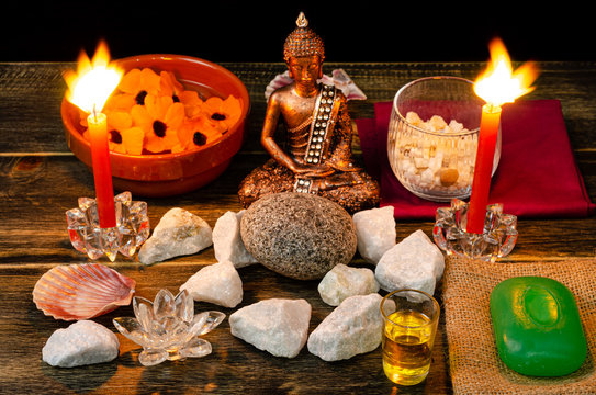 spa buddha stones relaxation and candles